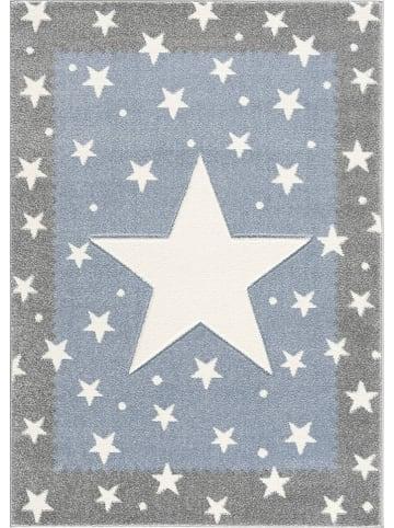 """Kids love rugs Geweven tapijt """"Fancy"""" zilvergrijs/blauw"""