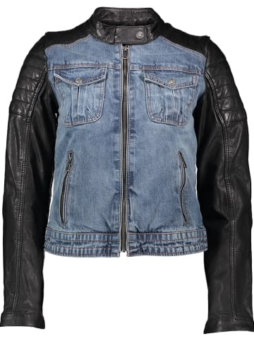 BLUE MONKEY Leren jas blauw/zwart