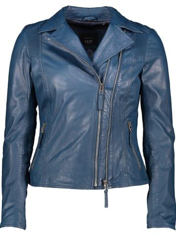 KRISS Skórzana kurtka w kolorze niebieskim