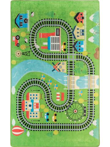 Woody Kid Store Laagpolig tapijt groen/meerkleurig