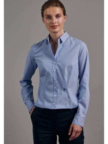 Seidensticker Blouse - slim fit - blauw/wit