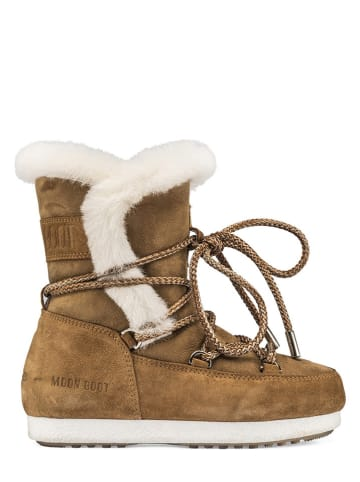"Moon Boot Leder-Winterboots ""High Shearling"" in Hellbraun"
