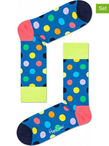 "Happy Socks 2er-Set: Socken ""Big Dot"" in Blau/ Bunt"