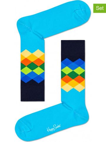 """Happy Socks 2-delige set: sokken """"Faded Diamond"""" blauw/donkerblauw/meerkleurig"""