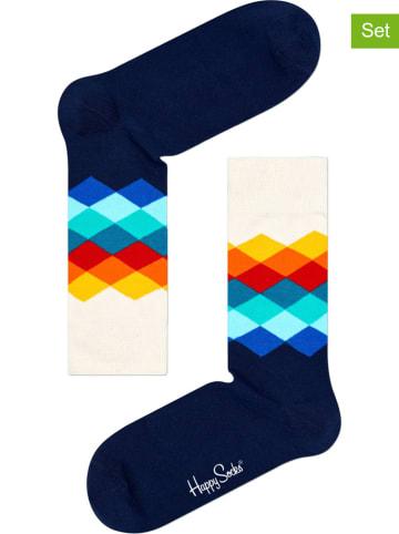 """Happy Socks Skarpety (2 pary) """"Faded Diamond"""" w kolorze granatowo-białym ze wzorem"""