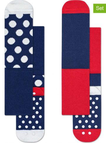 """Happy Socks Skarpety (2 pary) """"Big Dot"""" w kolorze granatowo-czerwono-białym"""