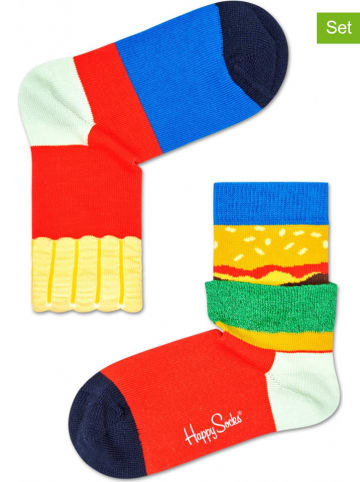 "Happy Socks Skarpety (2 pary) ""Burger and Fries"" ze wzorem"