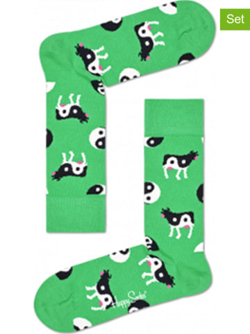 """Happy Socks 2-delige set: sokken """"Ying Yang Cow"""" groen"""
