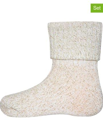 "Ewers 2-delige set: sokken ""Glitter met omslag"" beige"