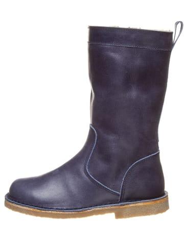 Kmins Leder-Stiefel in Dunkelblau