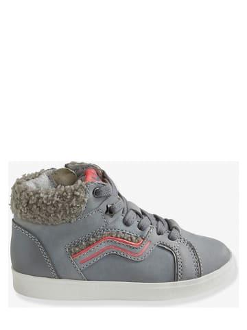 Vertbaudet Skórzane sneakersy w kolorze szarym