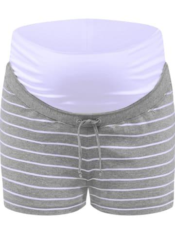 Bellybutton Umstandspyjama-Shorts in Grau/ Weiß