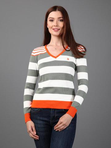 GIORGIO DI MARE Sweter w kolorze biało-szaro-pomarańczowym