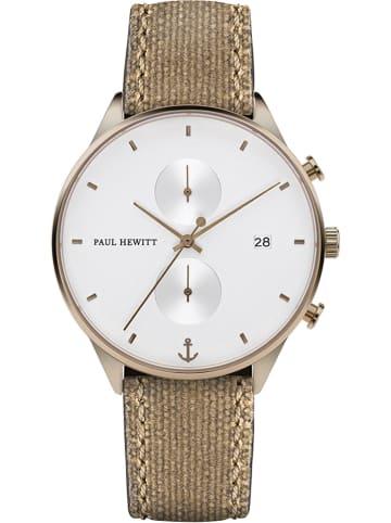 Paul Hewitt Chronograaf lichtbruin/goudkleurig/wit