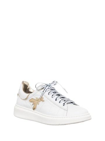 Patrizia Pepe Leder-Sneakers in Weiß/ Gold