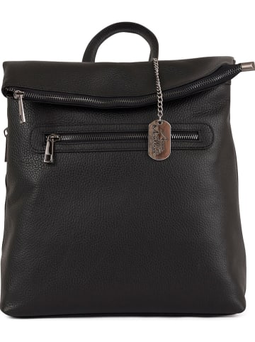 Anna Morellini Skórzany plecak w kolorze czarnym - 29 x 32 x 12 cm