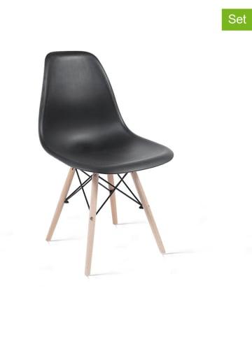"Lifa Living 4-delige set: eetkamerstoelen ""James"" zwart - (B)47 x (H)85 x (D)46 cm"