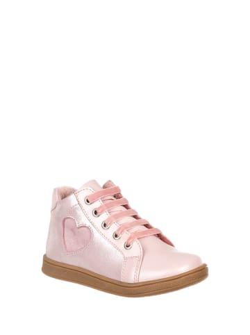 Chetto Skórzane sneakersy w kolorze jasnoróżowym