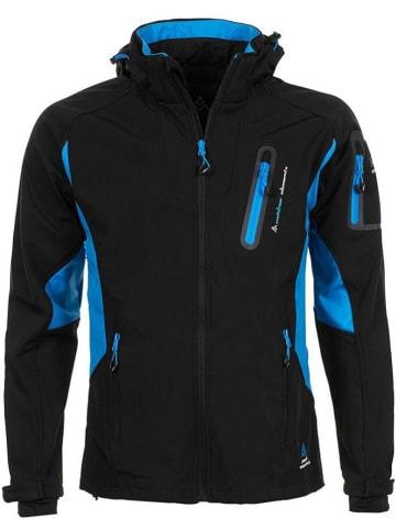 Peak Mountain Softshelljas zwart/blauw