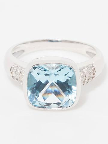 """DIAMOND & CO Weißgold-Ring """"Lagon"""" mit Diamanten und Topas"""