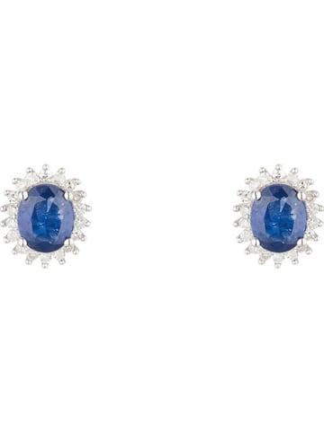 """DIAMOND & CO Złote kolczyki-wkrętki """"Abra"""" z diamentami i szafirami"""