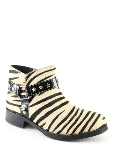 "Manoukian Leder-Ankle-Boots ""Natalie"" in Schwarz/ Creme"