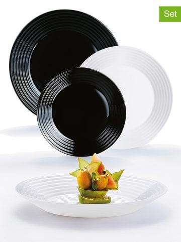 """Luminarc 18-częściowy zestaw talerzy """"Harena"""" w kolorze czarno-białym"""
