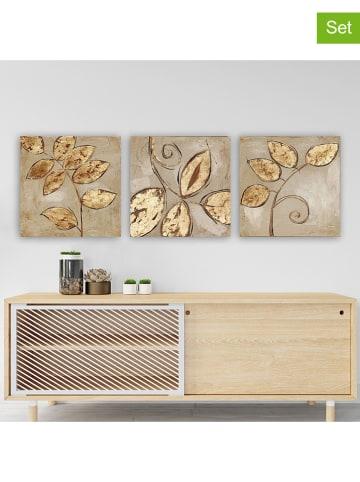 ABERTO DESIGN 3-delige set: kunstdrukken op canvas - (B)30 x (H)30 cm