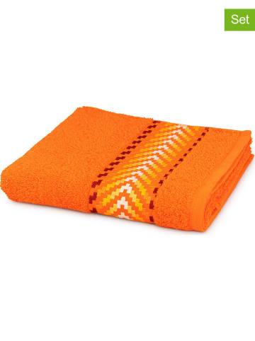 """Möve for Frottana Ręczniki (3 szt.) """"Zick Zack"""" w kolorze pomarańczowym do rąk"""