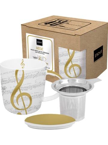 """Tee-Zeit mit ppd Teetasse """"I Love Music"""" in Weiß/ Gold - 350 ml"""