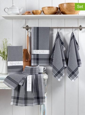 Colorful Cotton 10er-Set: Geschirrtücher in Schwarz/ Weiß