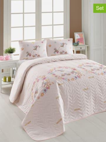 "Colourful Cotton 3tlg. Tagesdecken-Set ""Unicornlar"" in Rosa"