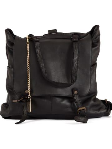 Anna Morellini Skórzany plecak w kolorze czarnym - 24 x 36 x 15 cm