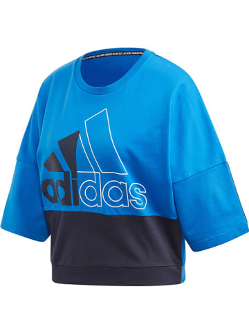 """Adidas Koszulka """"2CB"""" w kolorze niebiesko-czarnym"""