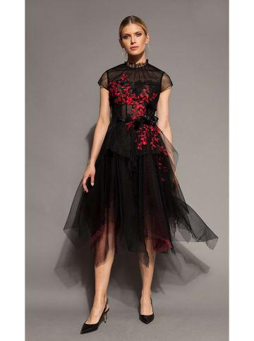 Deni Cler Sukienka w kolorze czarno-czerwonym