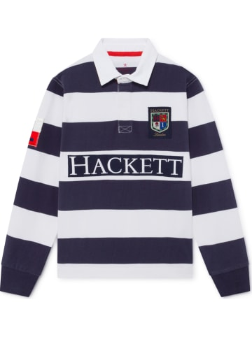Hackett London Poloshirt donkerblauw/wit