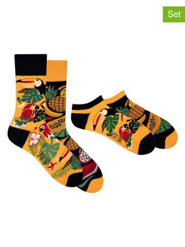 """Spox Sox Skarpety (2 pary) """"Tropical"""" w kolorze żółto-czarnym"""