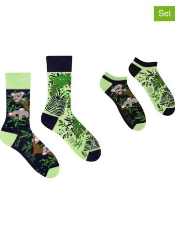 """Spox Sox 2er-Set: Socken """"Koala"""" in Dunkelblau/ Hellgrün"""