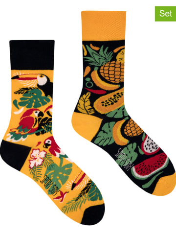 "Spox Sox 2er-Set: Socken ""Tropical"" in Gelb/ Schwarz"