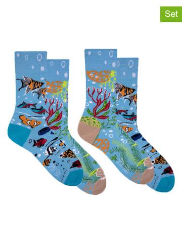 "Spox Sox 2er-Set: Socken ""Aquarium"" in Blau/ Bunt"