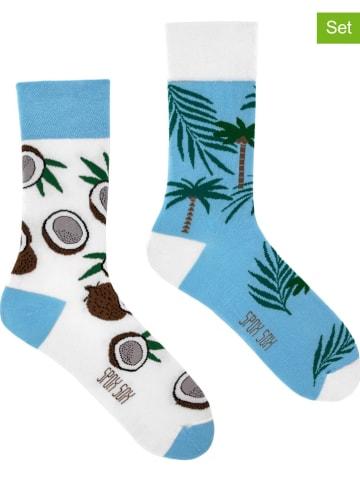 """Spox Sox 2er-Set: Socken """"Coco tree"""" in Weiß/ Hellblau"""