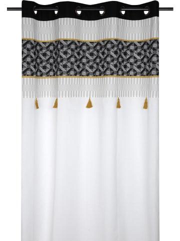 """STOF France Zasłona """"Beely"""" w kolorze biało-czarno-musztardowym - 260 x 140 cm"""