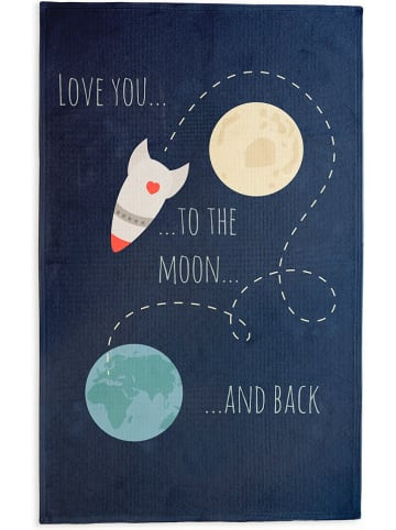 """Little nice things Baumwoll-Teppich """"Love You to the Moon"""" in Dunkelblau - (L)190 x (B)135 cm"""