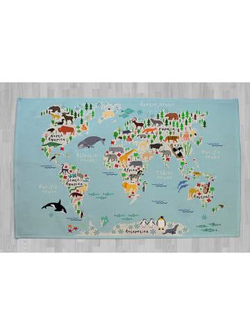 """Little nice things Dywan bawełniany """"Animals"""" w kolorze turkusowym - 190 x 135 cm"""