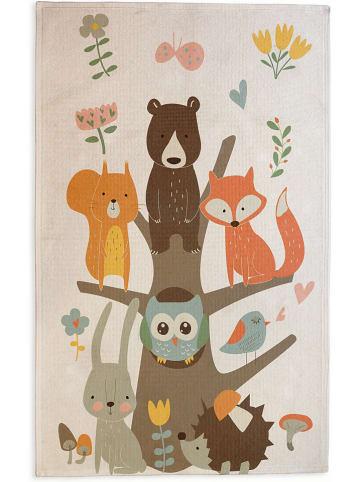 """Little nice things Dywan bawełniany """"Owl Tree"""" w kolorze kremowo-brązowym - 190 x 135 cm"""