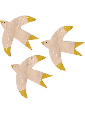 "Madre Selva Kids Wanddecoratie ""Vogels"" naturel, 3 stuks - (B)10 x (H)10 cm"