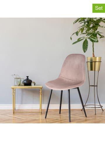 """Rétro Chic Krzesła (2 szt.) """"Giulia"""" w kolorze jasnoróżowym - 42,5 x 87 x 44 cm"""