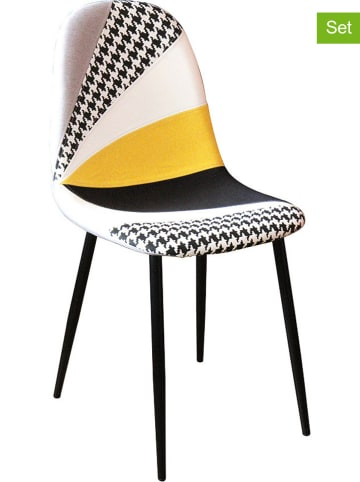 Rétro Chic Krzesła (2 szt.) w kolorze czarno-musztardowym - 43,5 x 87,5 x 50 cm