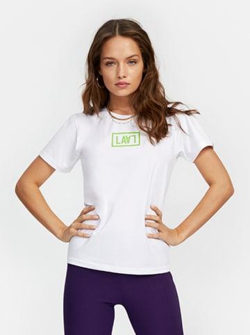 """PLNY LALA T-shirt """"Lala Monogram"""" w kolorze białym"""