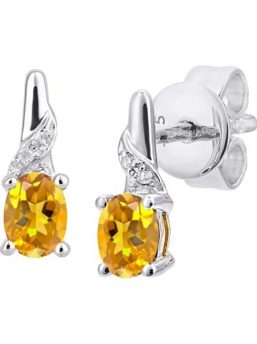 Revoni Witgouden oorstekers met diamanten